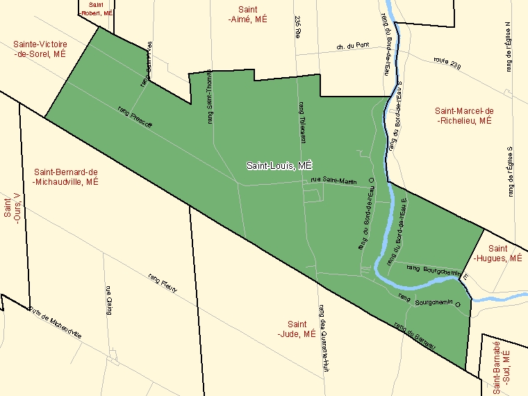 Map: Saint-Louis, Municipalité, Census Subdivision (shaded in green), Quebec