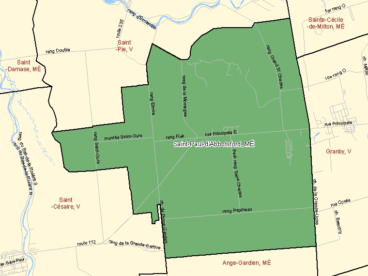 Map: Saint-Paul-d'Abbotsford, Municipalité, Census Subdivision (shaded in green), Quebec