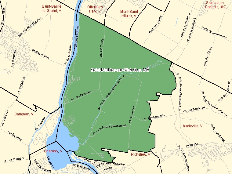 Map: Saint-Mathias-sur-Richelieu, Municipalité, Census Subdivision (shaded in green), Quebec
