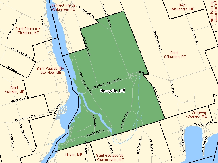 Map: Henryville, Municipalité, Census Subdivision (shaded in green), Quebec