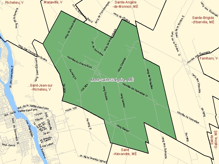 Map: Mont-Saint-Grégoire, Municipalité, Census Subdivision (shaded in green), Quebec