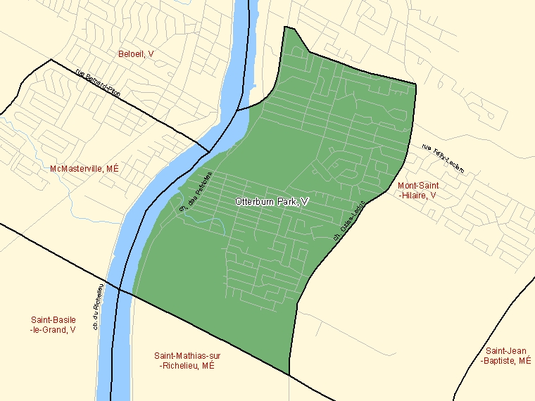 Map: Otterburn Park, Ville, Census Subdivision (shaded in green), Quebec