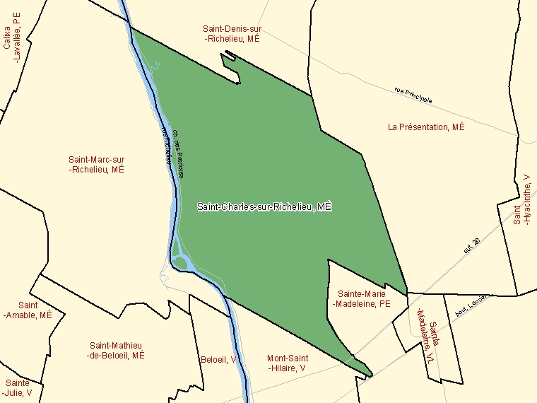 Map: Saint-Charles-sur-Richelieu, Municipalité, Census Subdivision (shaded in green), Quebec