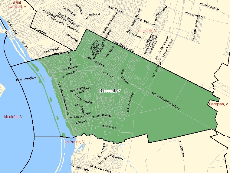 Map: Brossard, Ville, Census Subdivision (shaded in green), Quebec