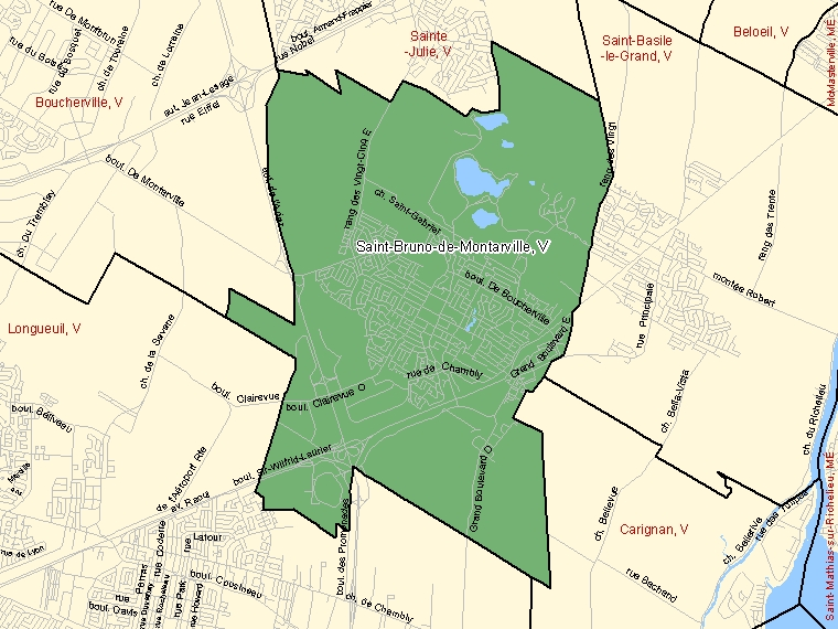 Map: Saint-Bruno-de-Montarville, Ville, Census Subdivision (shaded in green), Quebec