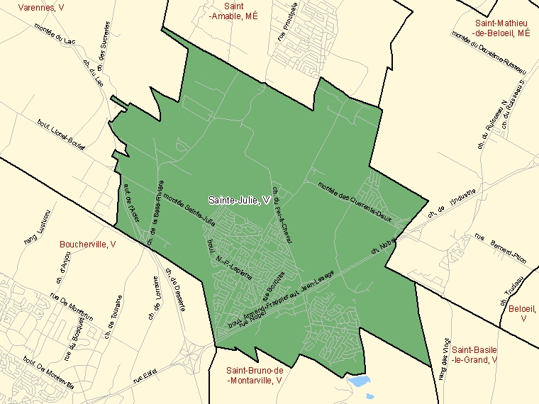 Map: Sainte-Julie, Ville, Census Subdivision (shaded in green), Quebec