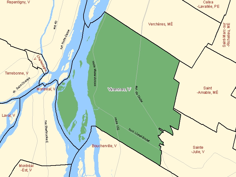 Map: Varennes, Ville, Census Subdivision (shaded in green), Quebec