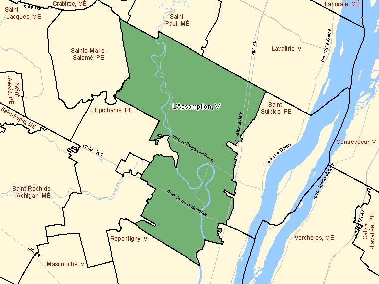 Map – L'Assomption (V)