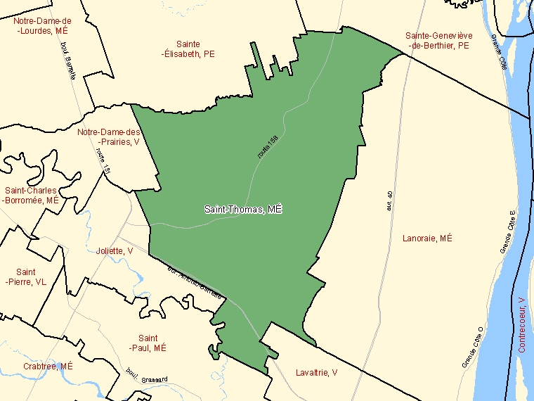 Map: Saint-Thomas, Municipalité, Census Subdivision (shaded in green), Quebec