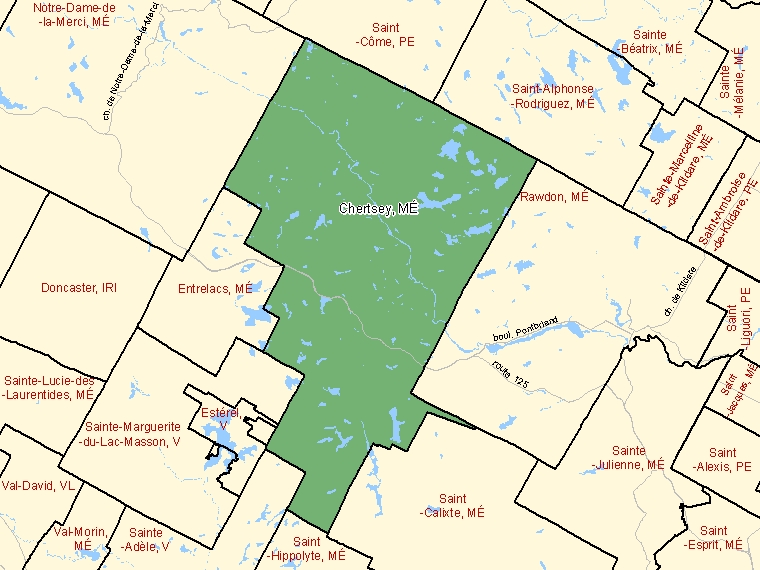 Map: Chertsey, Municipalité, Census Subdivision (shaded in green), Quebec