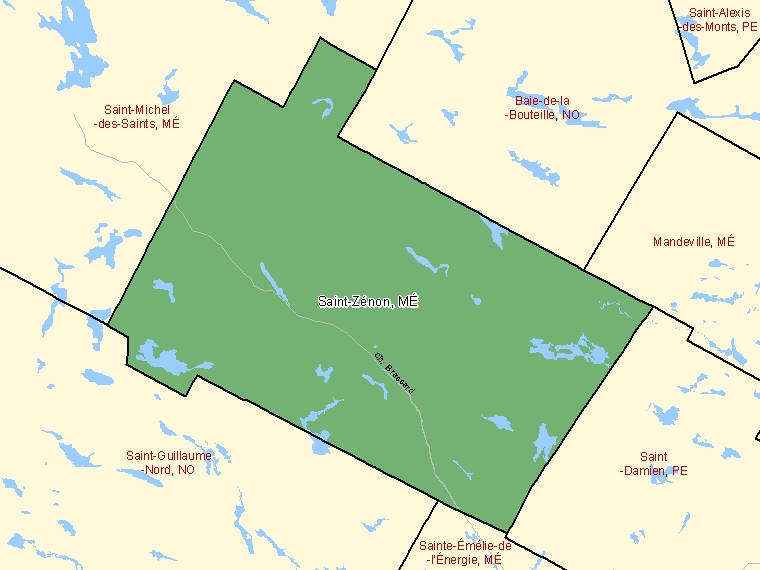 Map: Saint-Zénon, Municipalité, Census Subdivision (shaded in green), Quebec