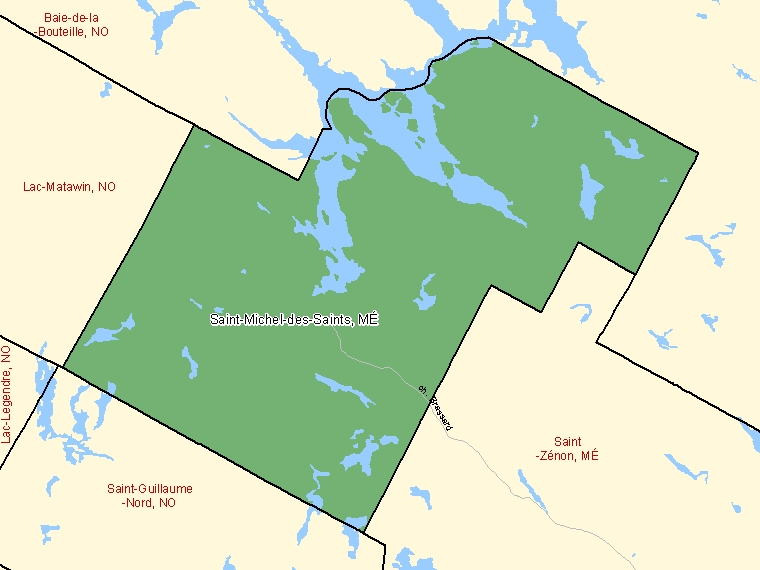 Map: Saint-Michel-des-Saints, Municipalité, Census Subdivision (shaded in green), Quebec