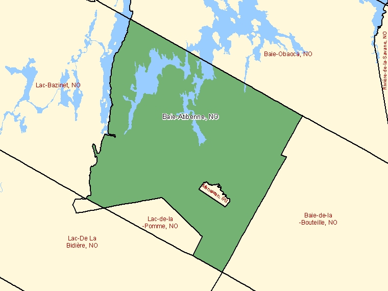 Map: Baie-Atibenne, Unorganized, Census Subdivision (shaded in green), Quebec