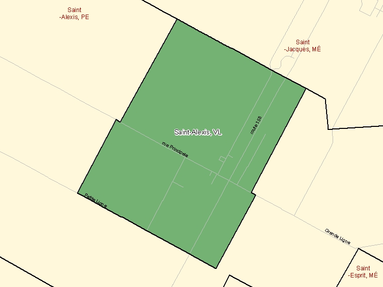 Map: Saint-Alexis, Village, Census Subdivision (shaded in green), Quebec