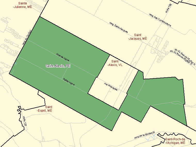 Map: Saint-Alexis, Paroisse (municipalité de), Census Subdivision (shaded in green), Quebec