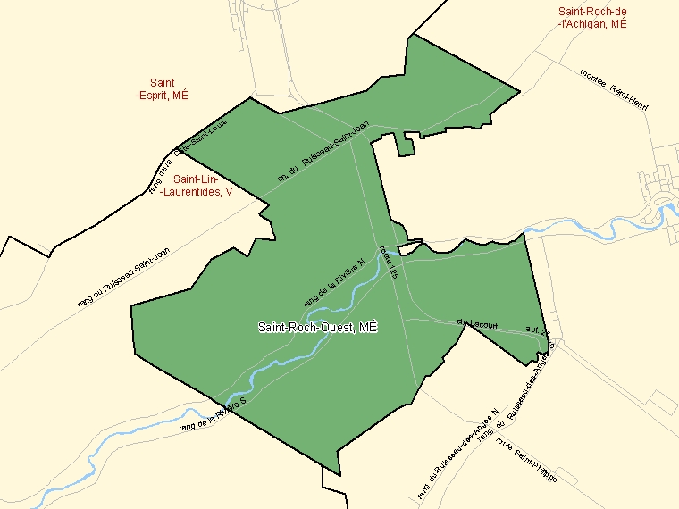 Map: Saint-Roch-Ouest, Municipalité, Census Subdivision (shaded in green), Quebec