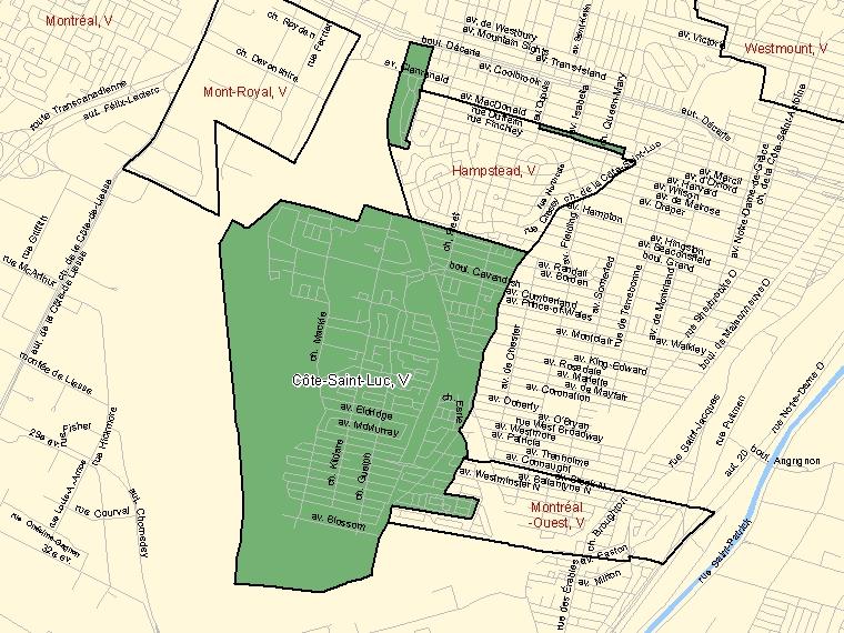 Map – Côte-Saint-Luc (V)