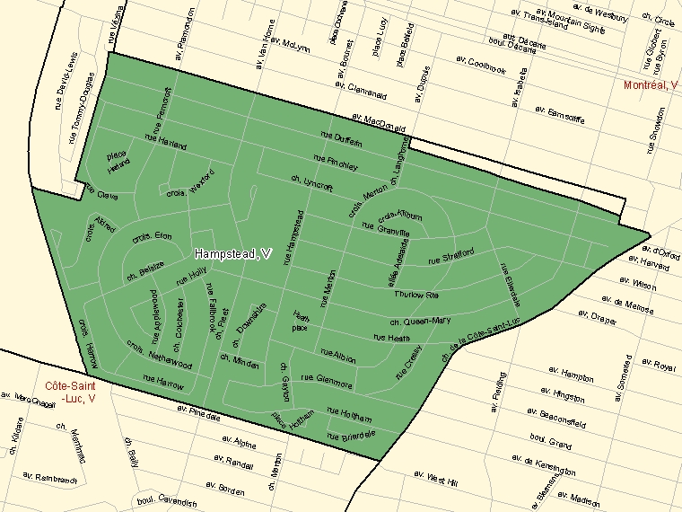 Map: Hampstead, Ville, Census Subdivision (shaded in green), Quebec