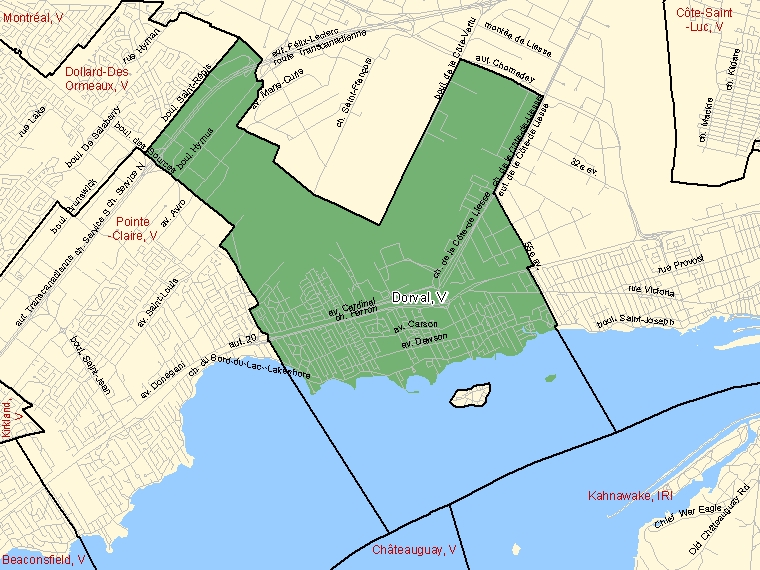 Map: Dorval, Ville, Census Subdivision (shaded in green), Quebec