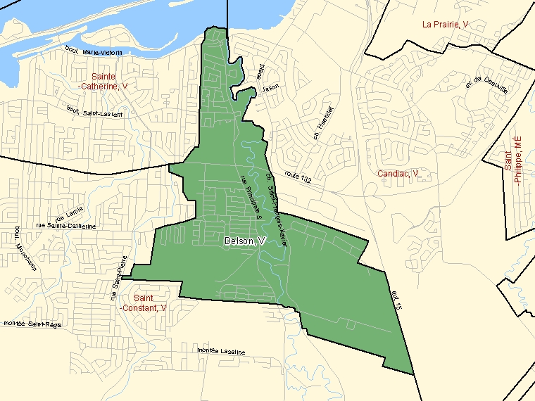Map: Delson, Ville, Census Subdivision (shaded in green), Quebec