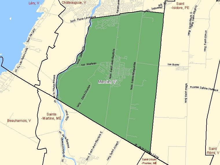 Map: Mercier, Ville, Census Subdivision (shaded in green), Quebec
