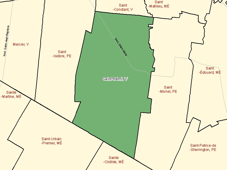 Map: Saint-Rémi, Ville, Census Subdivision (shaded in green), Quebec