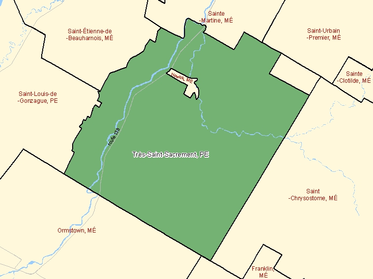Map: Très-Saint-Sacrement, Paroisse (municipalité de), Census Subdivision (shaded in green), Quebec