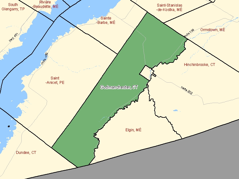 Map: Godmanchester, Canton (municipalité de), Census Subdivision (shaded in green), Quebec