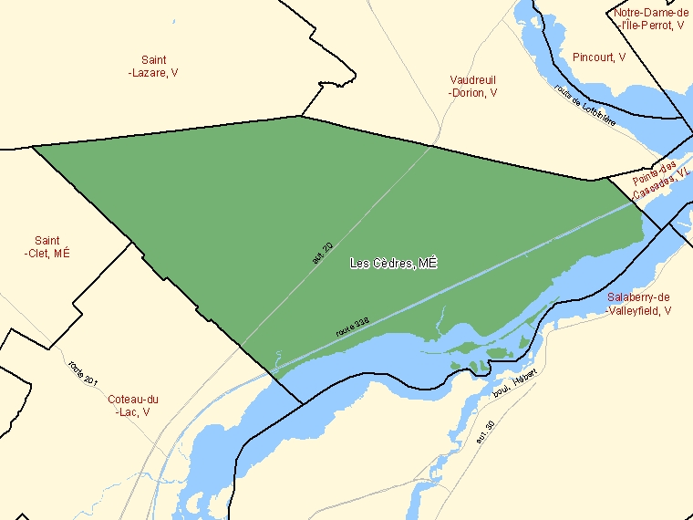Map: Les Cèdres, Municipalité, Census Subdivision (shaded in green), Quebec
