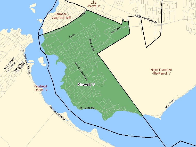 Map: Pincourt, Ville, Census Subdivision (shaded in green), Quebec