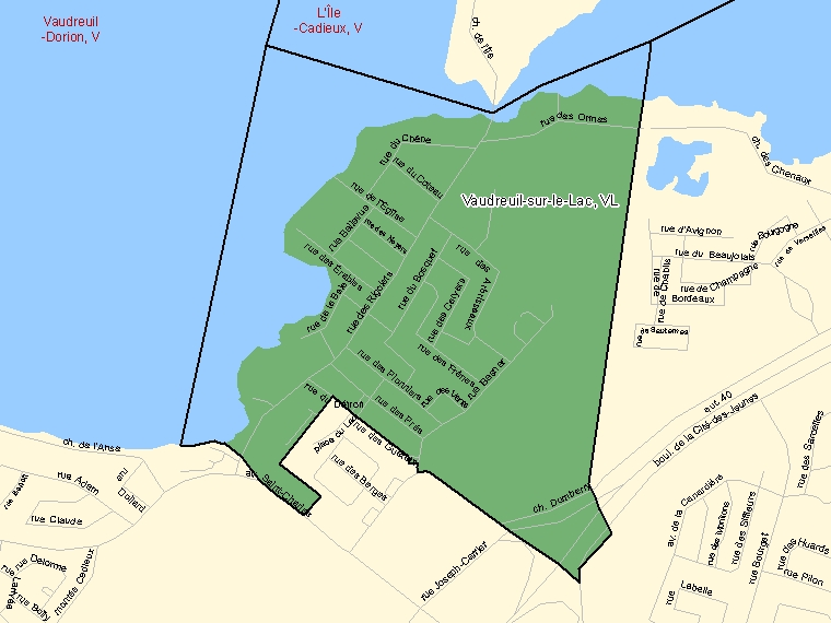 Map: Vaudreuil-sur-le-Lac, Village, Census Subdivision (shaded in green), Quebec