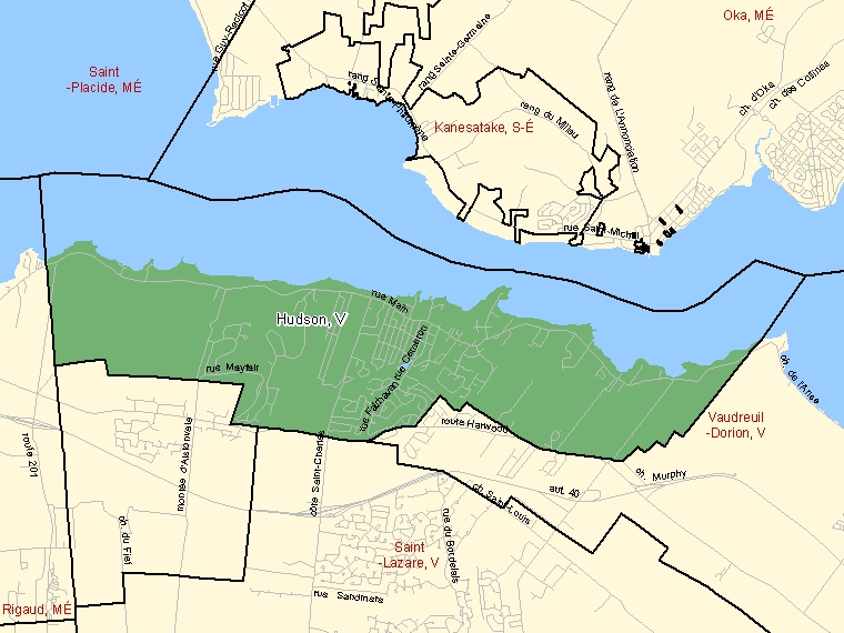 Map: Hudson, Ville, Census Subdivision (shaded in green), Quebec