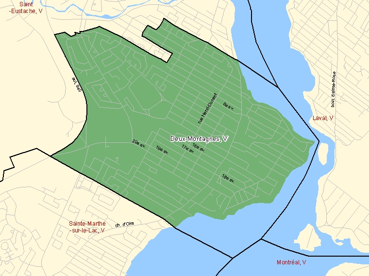 Map: Deux-Montagnes, Ville, Census Subdivision (shaded in green), Quebec