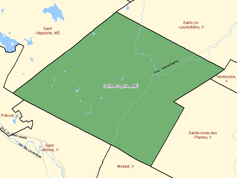Map: Sainte-Sophie, Municipalité, Census Subdivision (shaded in green), Quebec