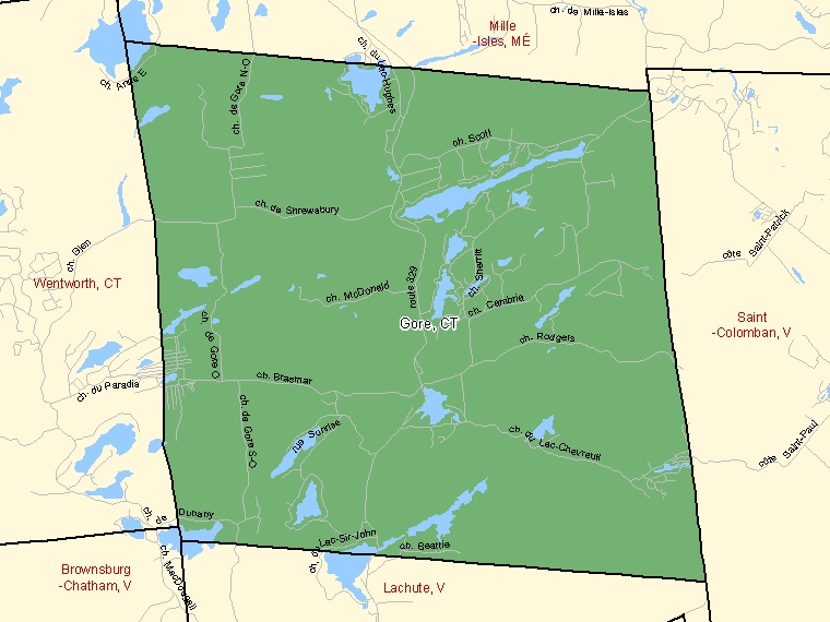 Map: Gore, Canton (municipalité de), Census Subdivision (shaded in green), Quebec