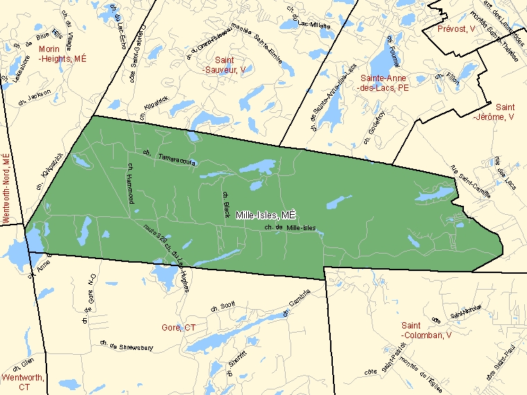 Map: Mille-Isles, Municipalité, Census Subdivision (shaded in green), Quebec
