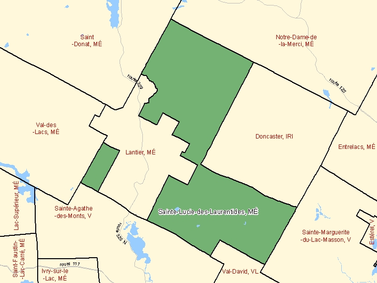 Map: Sainte-Lucie-des-Laurentides, Municipalité, Census Subdivision (shaded in green), Quebec