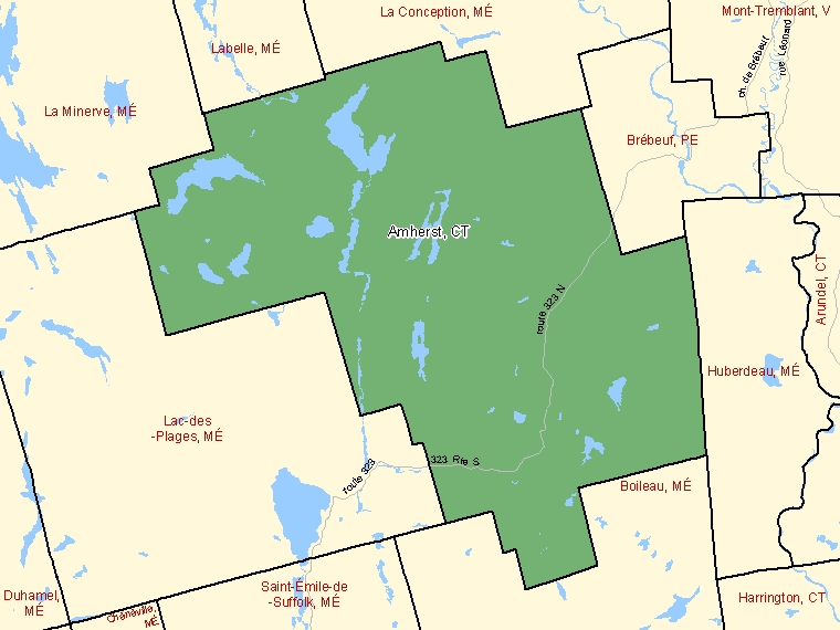 Map: Amherst, Canton (municipalité de), Census Subdivision (shaded in green), Quebec