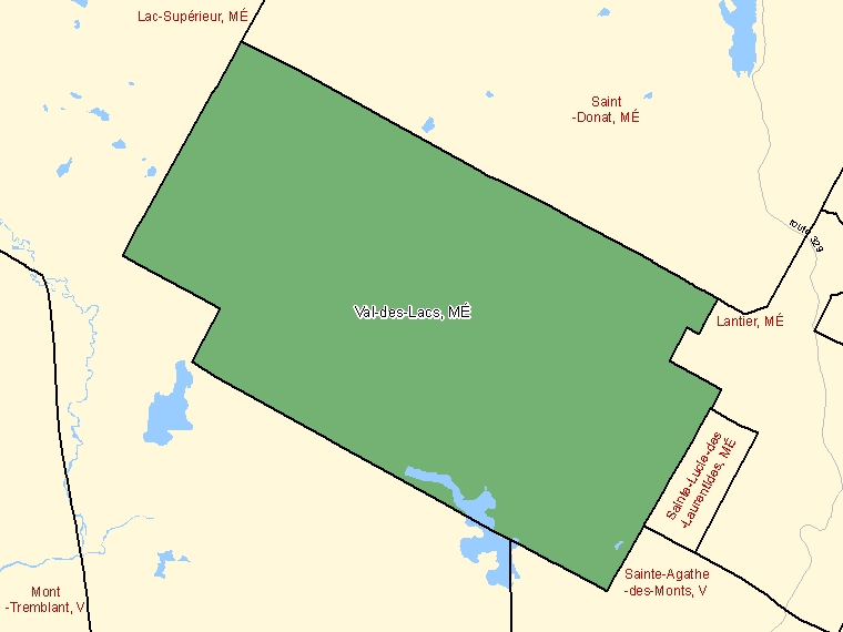 Map: Val-des-Lacs, Municipalité, Census Subdivision (shaded in green), Quebec