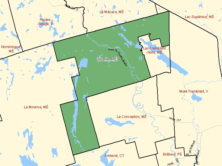 Map: Labelle, Municipalité, Census Subdivision (shaded in green), Quebec