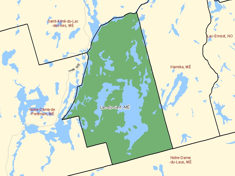 Map: Lac-du-Cerf, Municipalité, Census Subdivision (shaded in green), Quebec