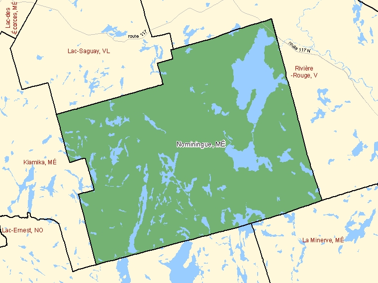 Map: Nominingue, Municipalité, Census Subdivision (shaded in green), Quebec