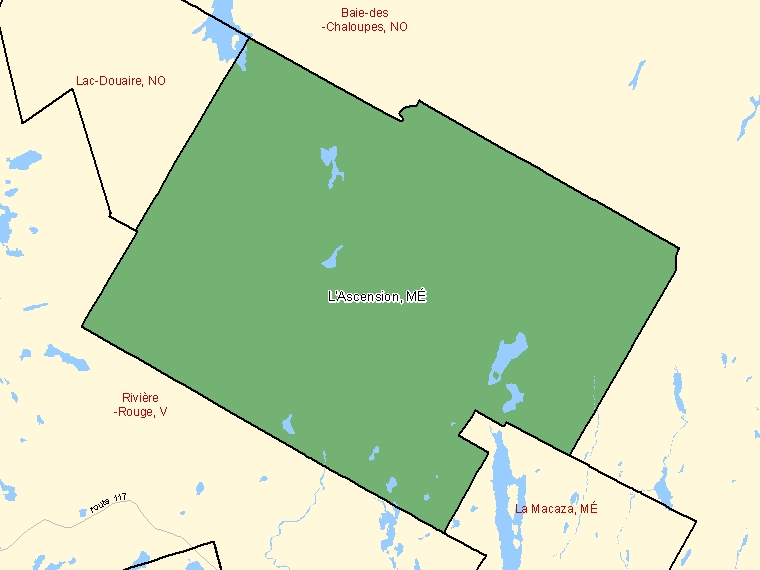 Map: L'Ascension, Municipalité, Census Subdivision (shaded in green), Quebec
