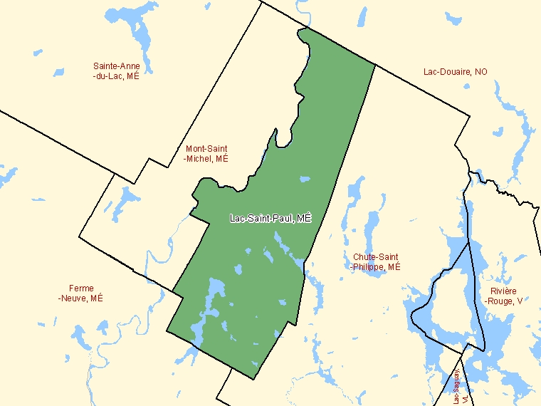 Map: Lac-Saint-Paul, Municipalité, Census Subdivision (shaded in green), Quebec
