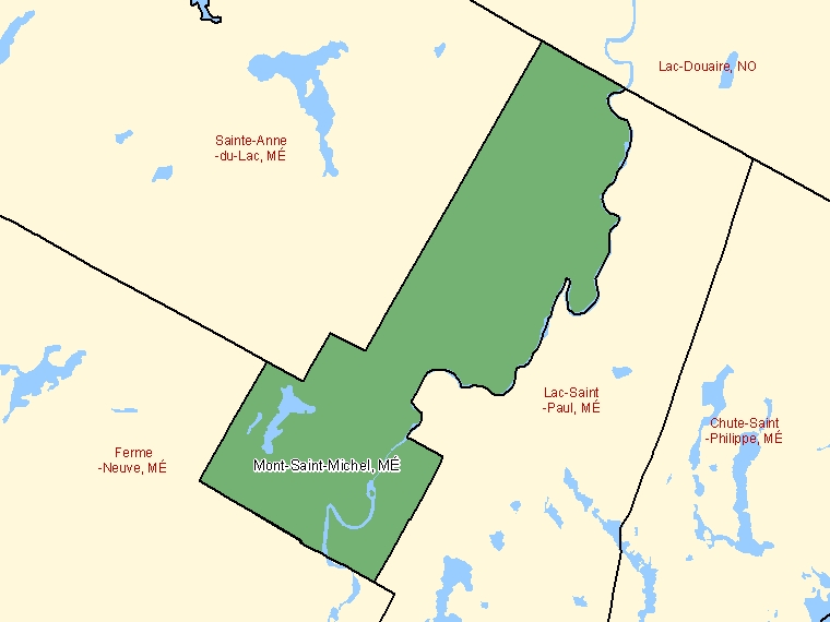 Map: Mont-Saint-Michel, Municipalité, Census Subdivision (shaded in green), Quebec