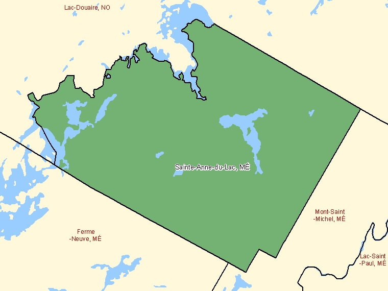 Map: Sainte-Anne-du-Lac, Municipalité, Census Subdivision (shaded in green), Quebec