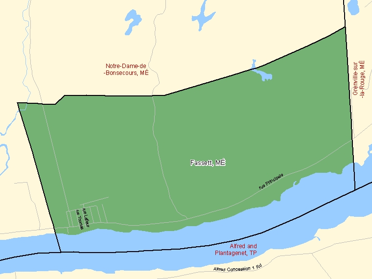 Map: Fassett, Municipalité, Census Subdivision (shaded in green), Quebec