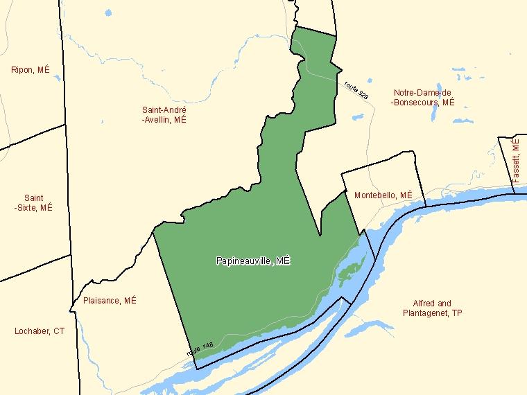 Map: Papineauville, Municipalité, Census Subdivision (shaded in green), Quebec