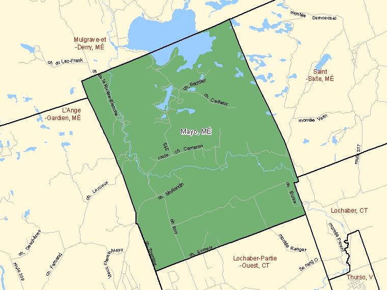 Map: Mayo, Municipalité, Census Subdivision (shaded in green), Quebec