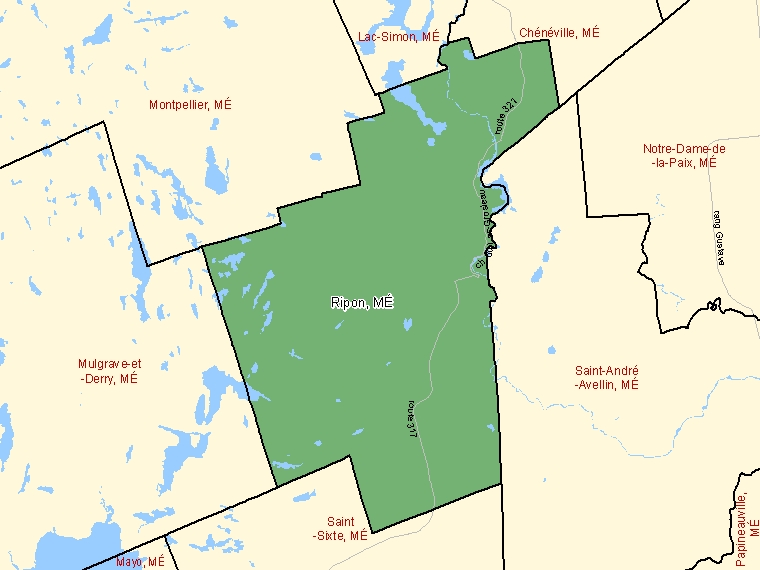 Map: Ripon, Municipalité, Census Subdivision (shaded in green), Quebec